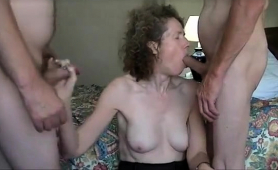 Slutty Amateur Milf Works Her Hands And Lips On Two Cocks