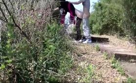 Pantyhosed Amateur Slut Gets Banged Doggystyle Outside