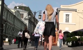 Pantyless European Blonde With A Tight Shaved Cunt Upskirt