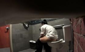 Voyeur Spying On A Lovely Amateur Brunette In The Toilet
