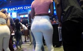 Voyeur Follows A Sexy Amateur Babe With A Big Round Booty