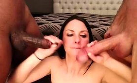 Lustful Amateur Brunette Works Her Lips On Interracial Cocks